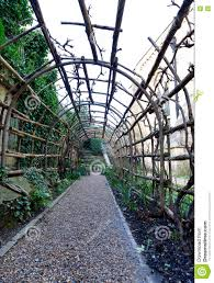 long garden trellis outside of winchester castle stock photo