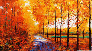 Colorful Painting by Forests Forest Fall Leaf Colorful Warm Leaves Artwork Road