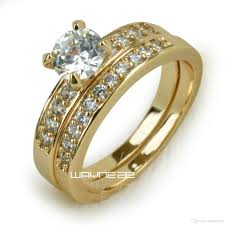 womens wedding ring sets 18k gold fileed womens engagement wedding ring set lab diamonds