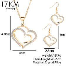 fashion jewelry necklace set images 17km romantic heart pattern crystal earrings necklace set silver jpg