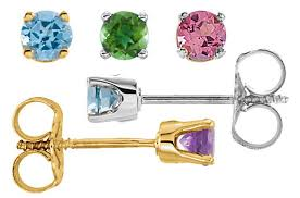 birthstone earrings in yellow or white gold 4390