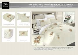 amazon com chic home rosetta 5 piece comforter set queen beige