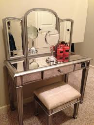Glass Makeup Vanity Table Deco White Painted Wooden Make Up Vanity With Lighted Mirror