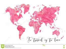 Turkey World Map World Map Filled With Pink Watercolour Effect Stock Illustration