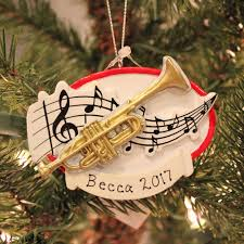 trumpet with notes personalized ornament midwest