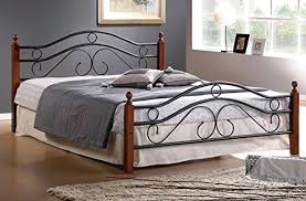 Metallic Bed Frame Metal Bed Frame W Wood Poles And Mattress Support Mattress News