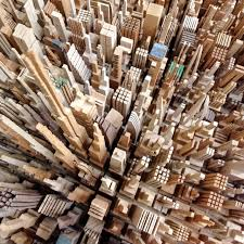 scrap wood sculpture city skylines made entirely from scrap wood luxemodo