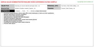 Job Titles On Resume by Sales Administrator Job Title Docs