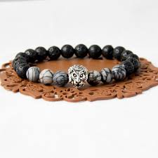 bracelet elastic silver images Men elastic silver gold lion head bead bracelet lava rock and jpg