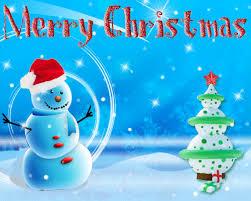 sky blue merry christmas animated ecard