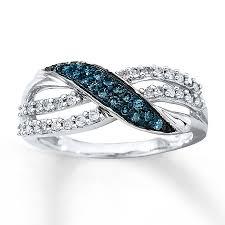 kay jewelers engagement rings kay blue u0026 white diamond ring 1 3 ct tw round cut 10k white gold