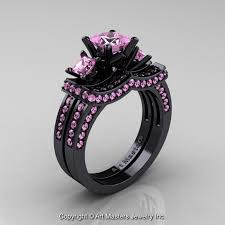 black and pink engagement rings 14k black gold three princess light pink sapphire