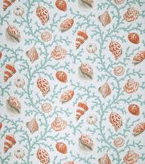 upholstery fabric eaton square coral and shells teal opt joann