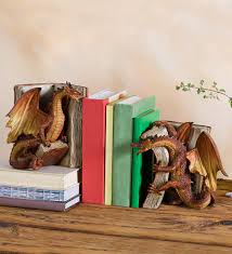 fighting dragon bookends in fairies dragons and fantasy