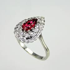 natural red spinel art deco engagement ring art deco diamond ring