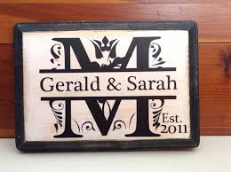 monogram plaques personalized monogram wall plaque last name initial wedding date