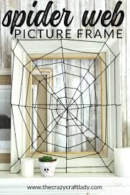 diy spider web picture frame easy halloween decor the crazy