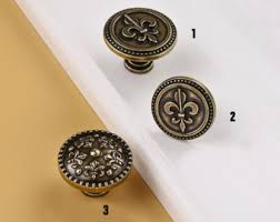 Fleur De Lis Cabinet Knobs Brass Metal Knob Flower With Rhinestones Furniture Pull