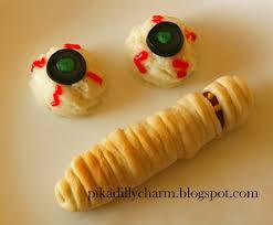 pikadilly charm halloween food mummies and eyeballs