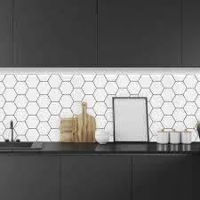 white kitchen cabinets with hexagon backsplash hexagon backsplash