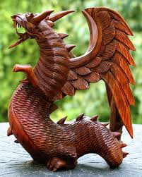 hand carved wooden dragon statue sculpture figurine home decor