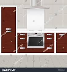 modern tiled kitchen cooker cupboards stock vector 92885194
