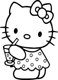 hello kitty drink lemonade coloring page wecoloringpage