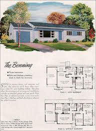 1950s ranch house plans 1952 national plan service benning the basic ranch house with