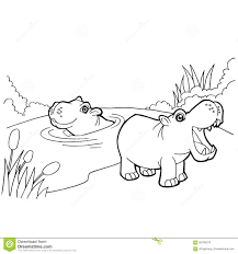 hippopotamus cartoon coloring pages vector stock vector image