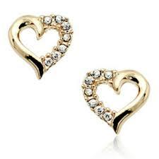 gold stud earrings uk gold finish heart stud earrings anjasmagicbox co uk