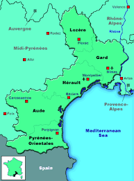 map of perpignan region map of languedoc roussillon for self drive holidays through the