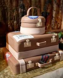 3 tier suitcase wedding cake with edible luggage tag passport and