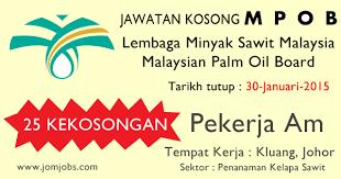 Minyak Kelapa Sawit Terkini jawatan kosong mpob lembaga minyak sawit malaysia terkini disember