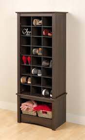 black solid woodn cubicle shoe storage organizer with linen open