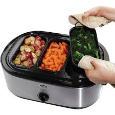 oster 22 lb roaster oven with removable 3 bin buffet server 18