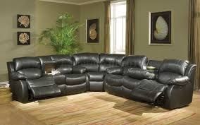 Black Leather Sectional Sofa Black Sectional Sofa With Recliners Cleanupflorida Com