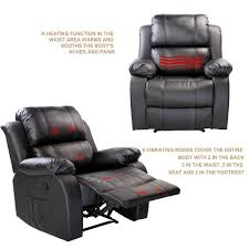 pu heated massage recliner sofa chair with 8 vibration motors