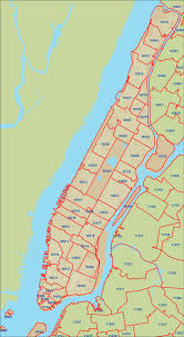 New York City Map Of Manhattan by New York City Zipcode Map Manhattan New York U2022 Mappery