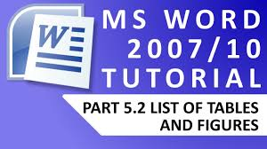 tutorial youtube word ms word tutorial 5 2 list of tables figures youtube