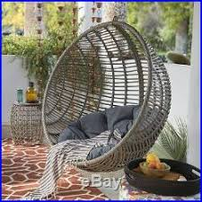 Patio Egg Chair Resin Wicker Hanging Egg Chair Gray Cushion U0026 Stand Seat Outdoor