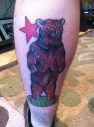 brown bear and red star tattoo tattoomagz