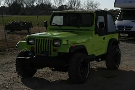 jeep rhino liner 92 jeep wrangler neon green interior lined with bedliner for