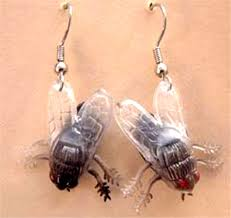 funky gothic fly flies earrings bug gift halloween costume