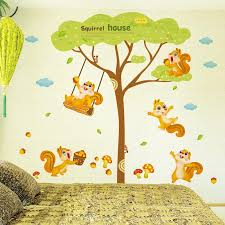 Squirrel House Wall Decal Sticker Squirrel Playing Under The Tree - Animal wall stickers for kids rooms