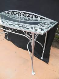 Wrought Iron Vintage Patio Furniture by Vintage Salterini Wrought Iron Console Table For Sale At 1stdibs