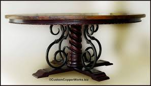 Hammered Copper Dining Table Large Round Copper Top Dining Table Wood Forged Iron Pedestal
