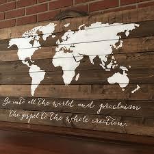 World Map Wood Wall Art by World Map Wood Sign Pallet Adventure Awaits Wood Sign Scripture