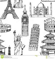 sketch eiffel tower pisa tower big ben taj mahal coliseum c