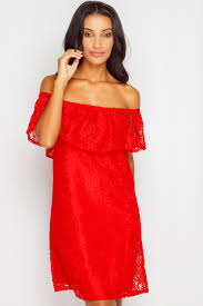 laura red lace bardot shift dress at misspap co uk
