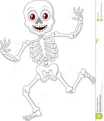 cartoon happy halloween skeleton dancing stock vector image